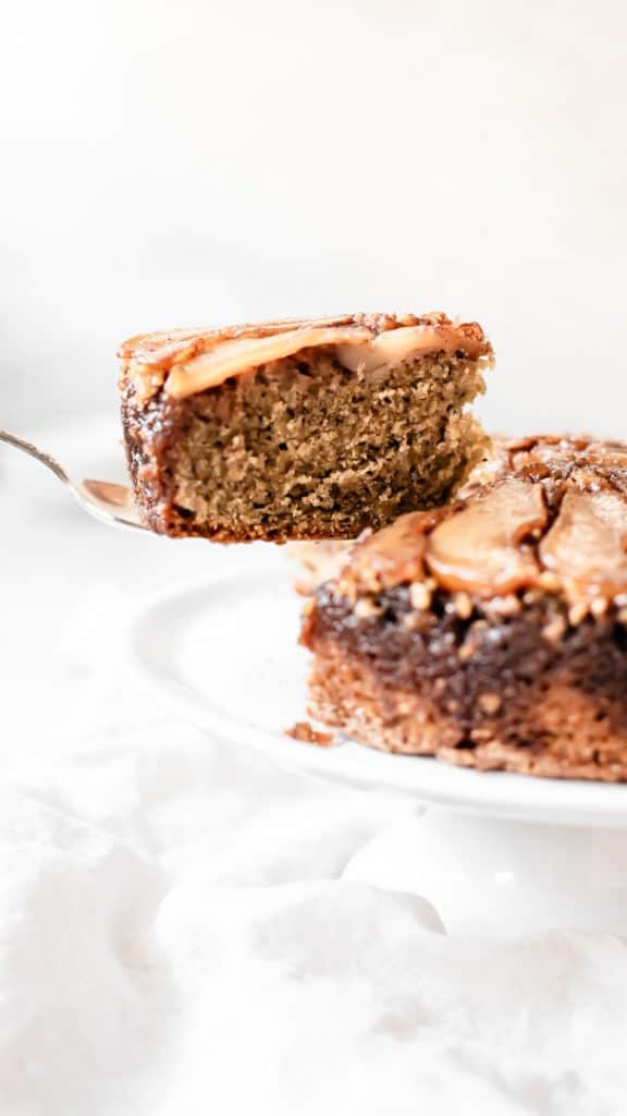 Walnut Pear Upside-Down Cake