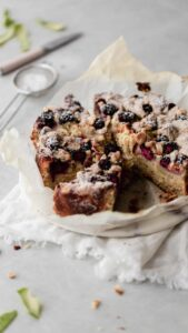 Blackberry Apple Crumb Cake with Almond Streusel
