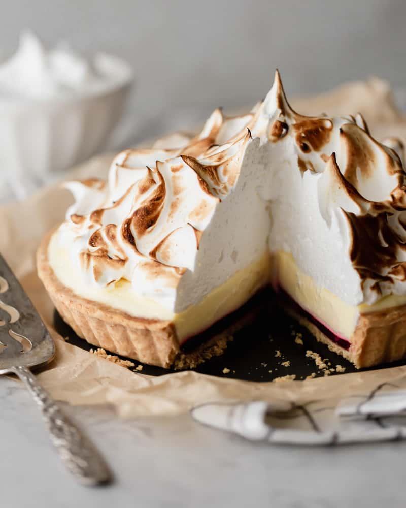 Cranberry lemon cream tart ready to serve