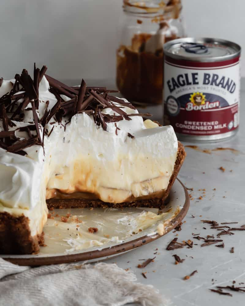 Banoffee Banana Cream Pie with Dulce de Leche Caramel Layer, Whipped Cream and Chocolate Curls